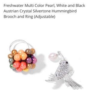 Jewelry - Pearl Ring🔥2/$40  and Hummingbird Brooch